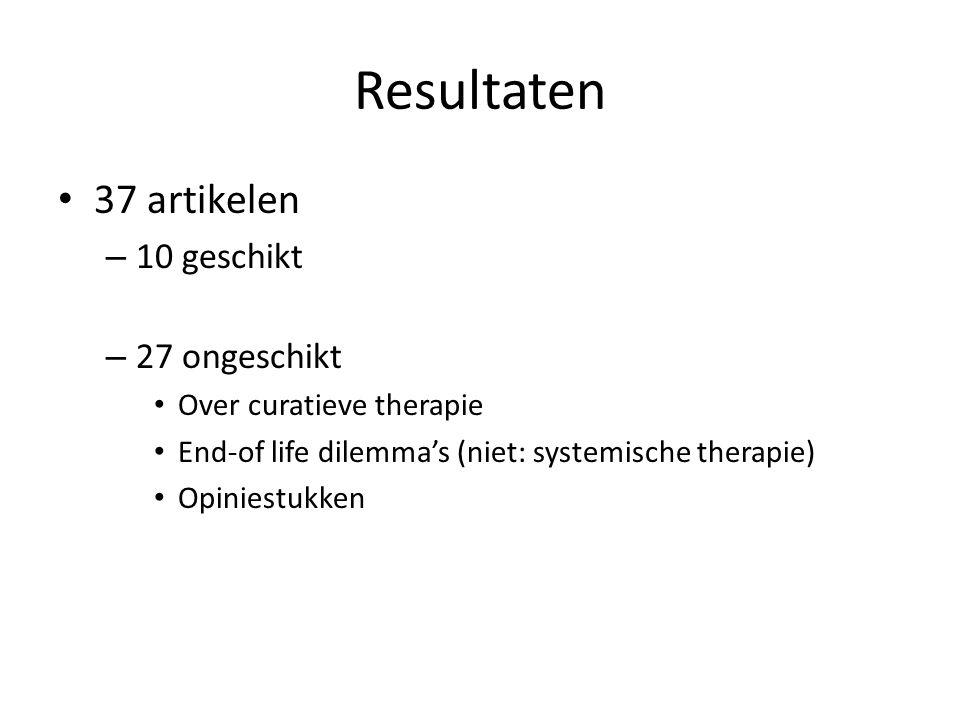 37 artikelen – 10 geschikt – 27 ongeschikt Over curatieve therapie End-of life dilemma's (niet: systemische therapie) Opiniestukken