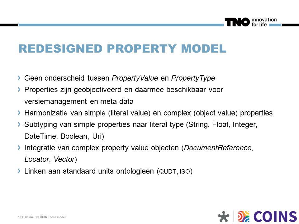 REDESIGNED PROPERTY MODEL Geen onderscheid tussen PropertyValue en PropertyType Properties zijn geobjectiveerd en daarmee beschikbaar voor versiemanagement en meta-data Harmonizatie van simple (literal value) en complex (object value) properties Subtyping van simple properties naar literal type (String, Float, Integer, DateTime, Boolean, Uri) Integratie van complex property value objecten (DocumentReference, Locator, Vector) Linken aan standaard units ontologieën ( QUDT, ISO ) 13 | Het nieuwe COINS core model