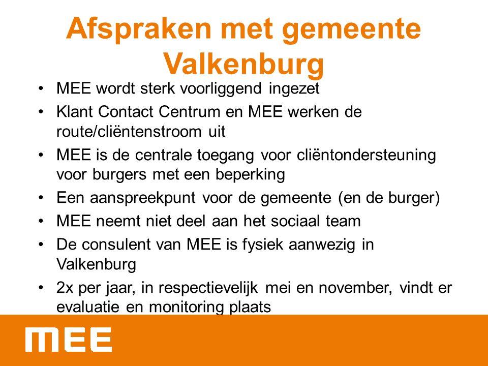 Afspraken met gemeente Valkenburg MEE wordt sterk voorliggend ingezet Klant Contact Centrum en MEE werken de route/cliëntenstroom uit MEE is de centrale toegang voor cliëntondersteuning voor burgers met een beperking Een aanspreekpunt voor de gemeente (en de burger) MEE neemt niet deel aan het sociaal team De consulent van MEE is fysiek aanwezig in Valkenburg 2x per jaar, in respectievelijk mei en november, vindt er evaluatie en monitoring plaats