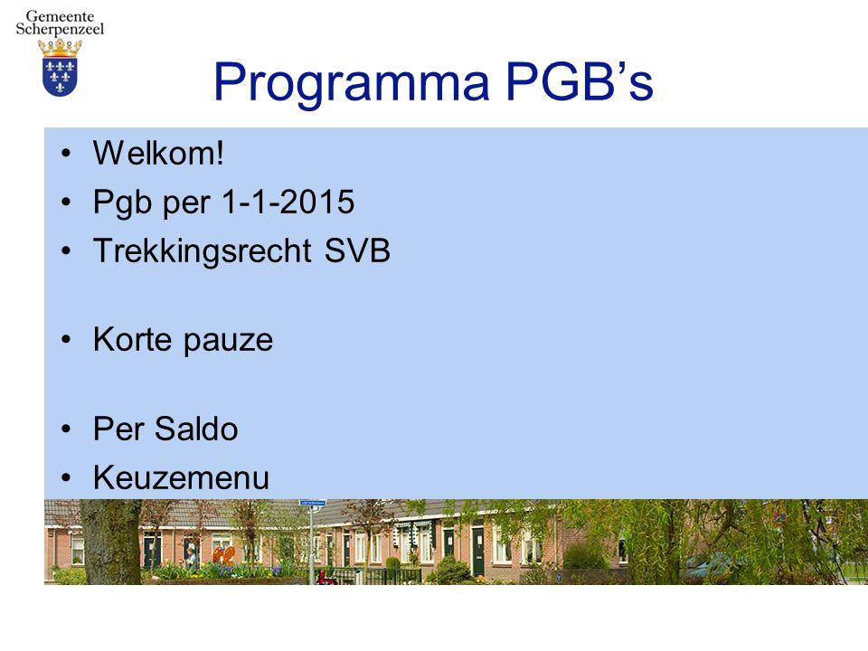 Programma PGB's Welkom! Pgb per 1-1-2015 Trekkingsrecht SVB Korte pauze Per Saldo Keuzemenu