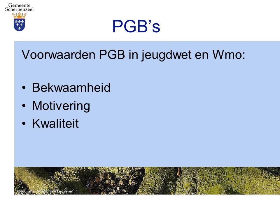 PGB's Voorwaarden PGB in jeugdwet en Wmo: Bekwaamheid Motivering Kwaliteit