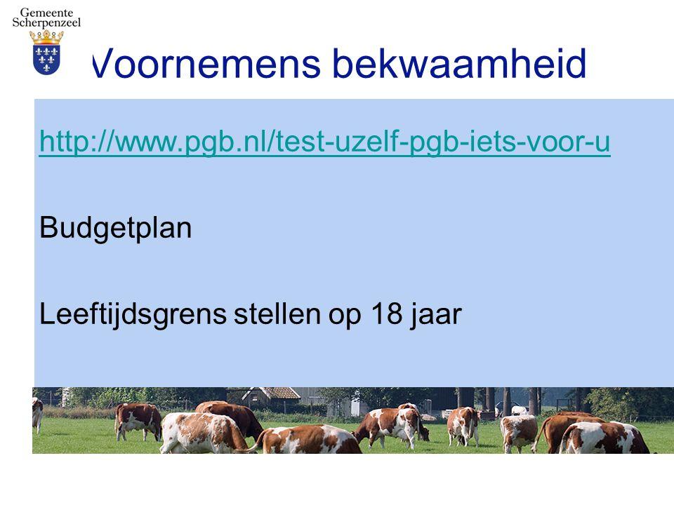 Voornemens bekwaamheid http://www.pgb.nl/test-uzelf-pgb-iets-voor-u Budgetplan Leeftijdsgrens stellen op 18 jaar