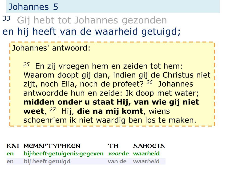 Johannes 5 33 Gij hebt tot Johannes gezonden en hij heeft van de waarheid getuigd; Johannes' antwoord: 25 En zij vroegen hem en zeiden tot hem: Waarom
