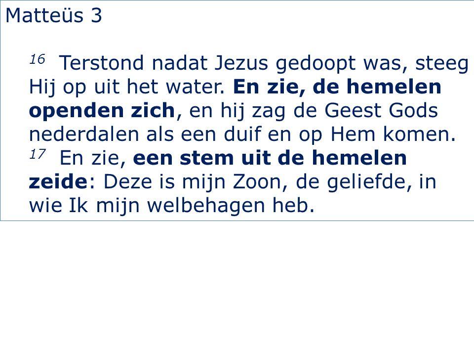 Matteüs 3 16 Terstond nadat Jezus gedoopt was, steeg Hij op uit het water. En zie, de hemelen openden zich, en hij zag de Geest Gods nederdalen als ee