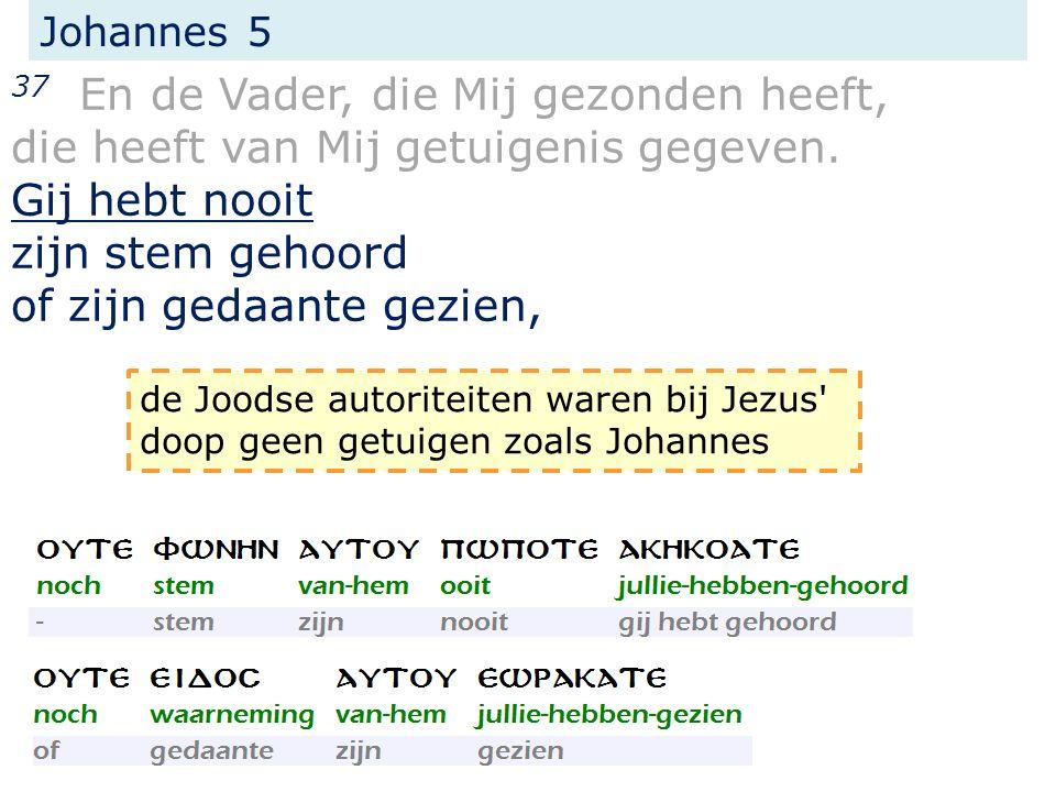 Johannes 5 37 En de Vader, die Mij gezonden heeft, die heeft van Mij getuigenis gegeven. Gij hebt nooit zijn stem gehoord of zijn gedaante gezien, de