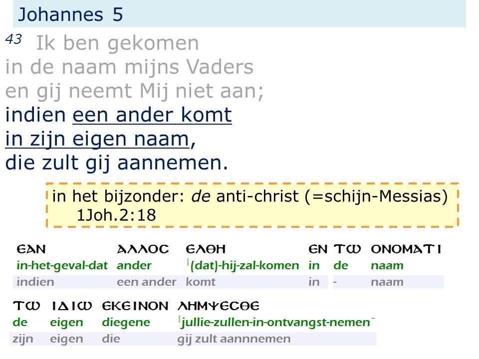 Johannes 5 43 Ik ben gekomen in de naam mijns Vaders en gij neemt Mij niet aan; indien een ander komt in zijn eigen naam, die zult gij aannemen. in he