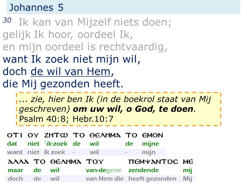 Johannes 5 30 Ik kan van Mijzelf niets doen; gelijk Ik hoor, oordeel Ik, en mijn oordeel is rechtvaardig, want Ik zoek niet mijn wil, doch de wil van