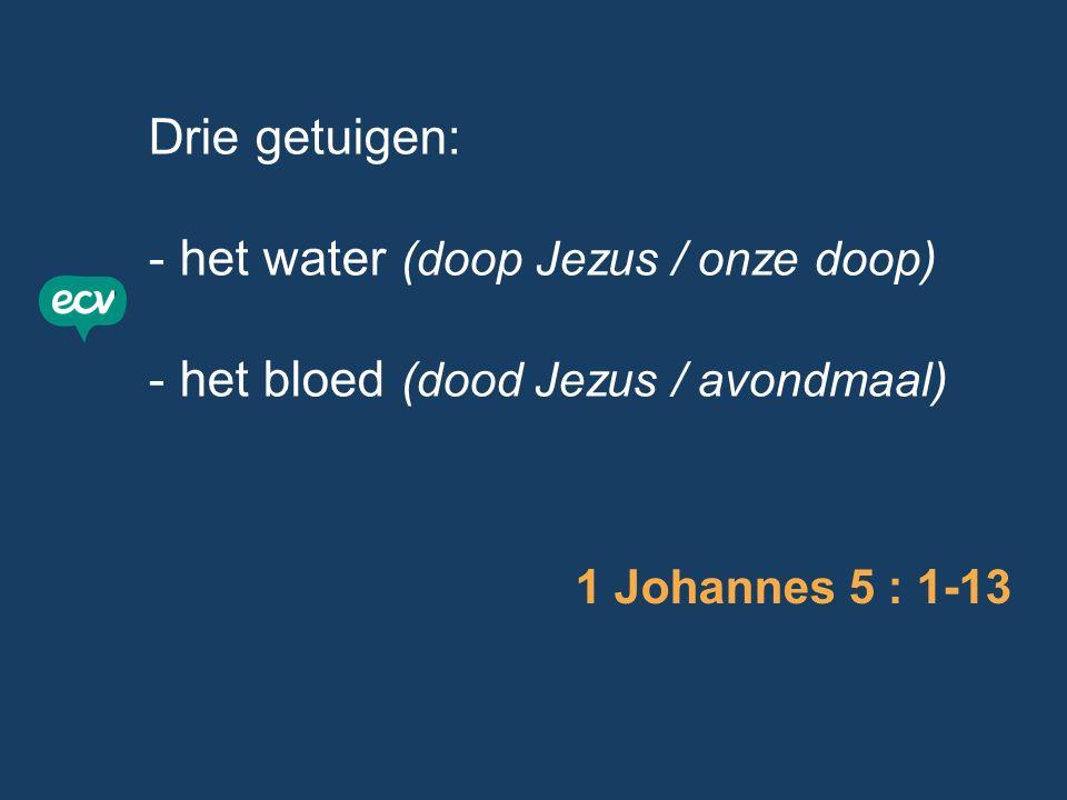 Drie getuigen: - het water (doop Jezus / onze doop) - het bloed (dood Jezus / avondmaal) 1 Johannes 5 : 1-13