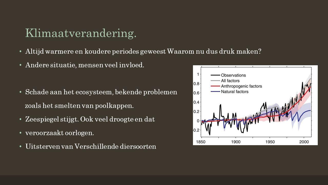 Klimaatverandering. Altijd warmere en koudere periodes geweest Waarom nu dus druk maken.