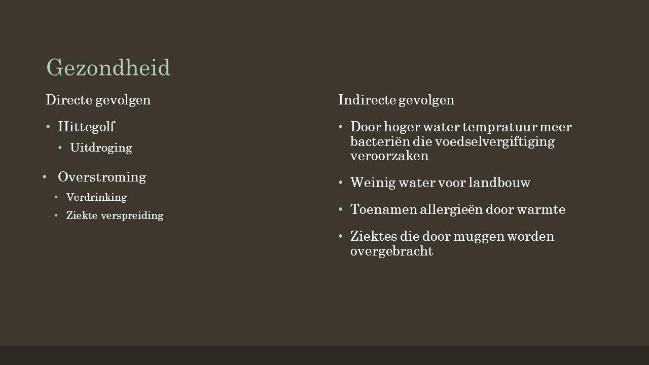 Gezondheid Directe gevolgen Hittegolf Uitdroging Indirecte gevolgen Door hoger water tempratuur meer bacteriën die voedselvergiftiging veroorzaken Weinig water voor landbouw Toenamen allergieën door warmte Ziektes die door muggen worden overgebracht Overstroming Verdrinking Ziekte verspreiding