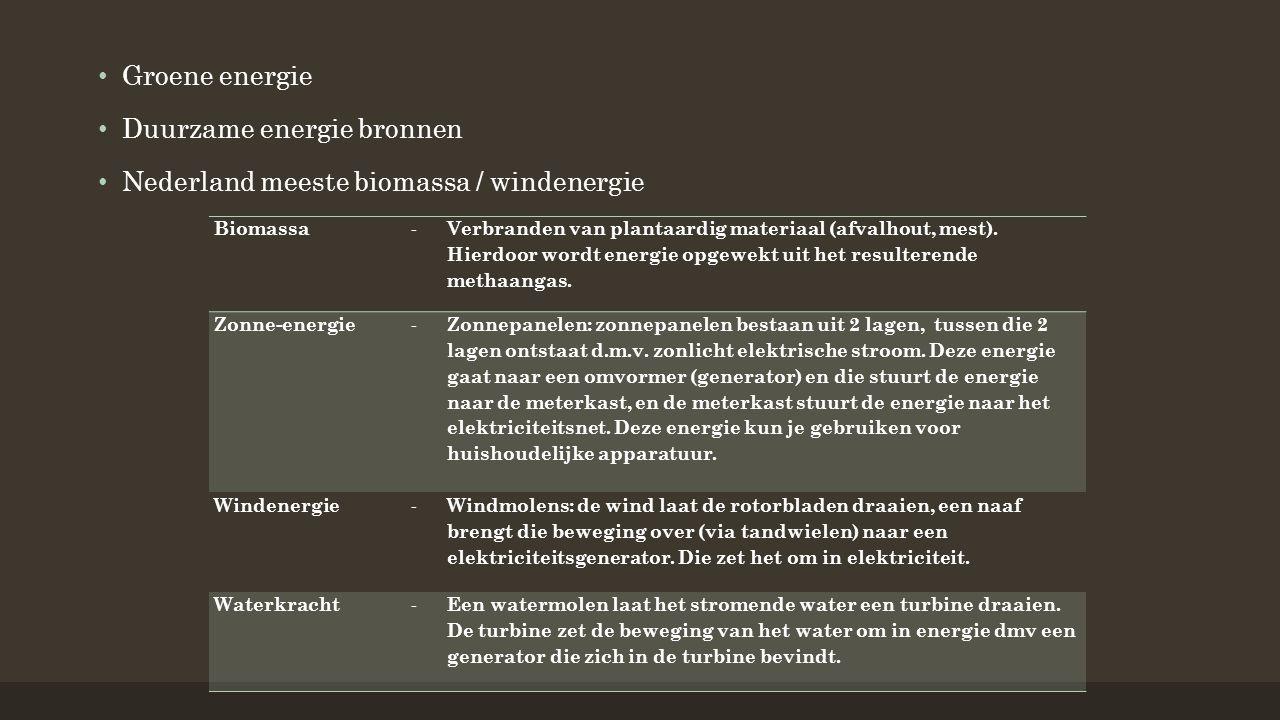 Duurzame energie bronnen Nederland meeste biomassa / windenergie Biomassa - Verbranden van plantaardig materiaal (afvalhout, mest).