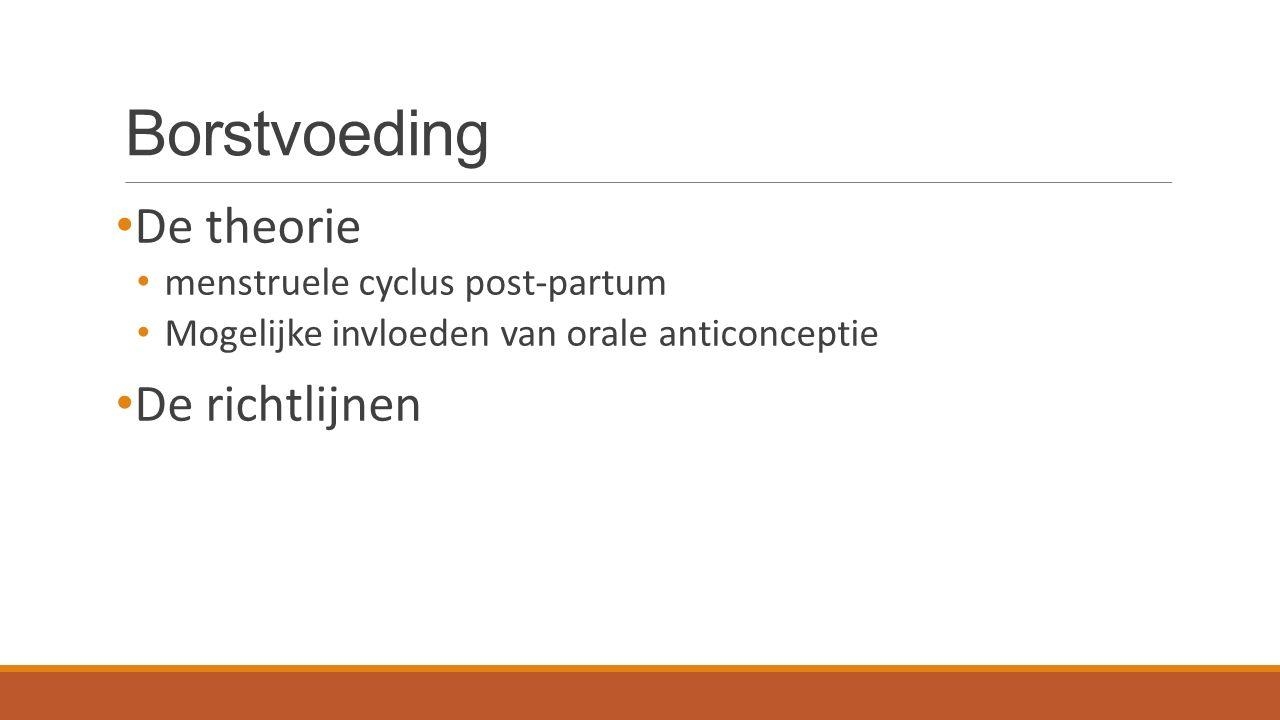 Borstvoeding De theorie menstruele cyclus post-partum Mogelijke invloeden van orale anticonceptie De richtlijnen