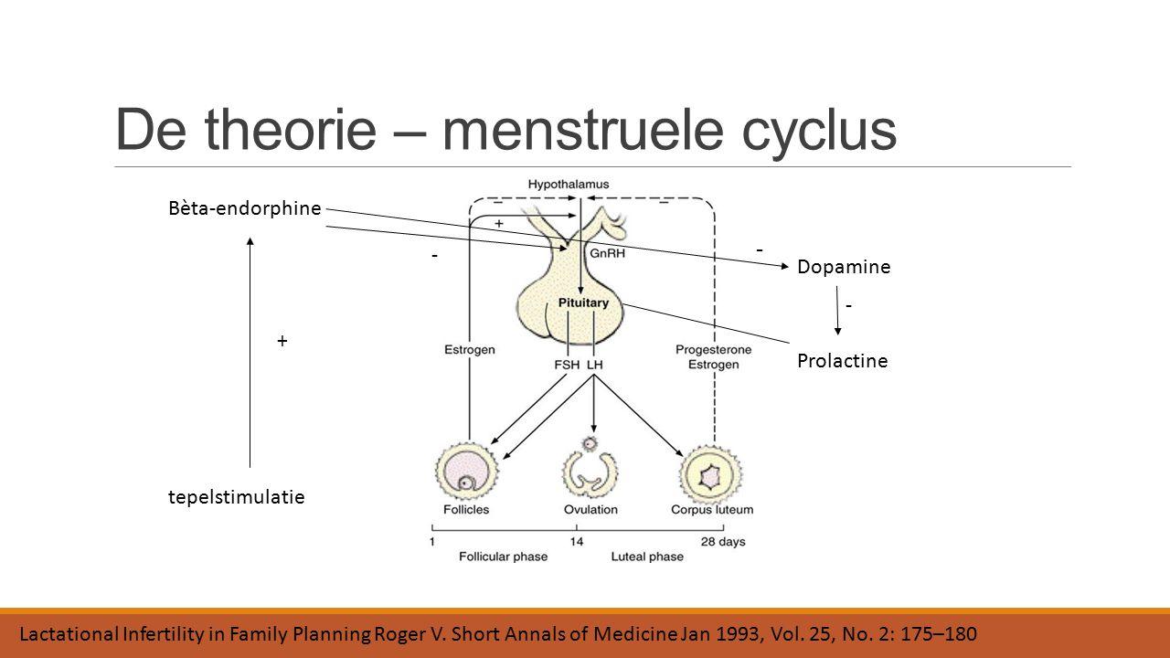De theorie – menstruele cyclus Prolactine Dopamine - tepelstimulatie Bèta-endorphine + - - Lactational Infertility in Family Planning Roger V. Short A