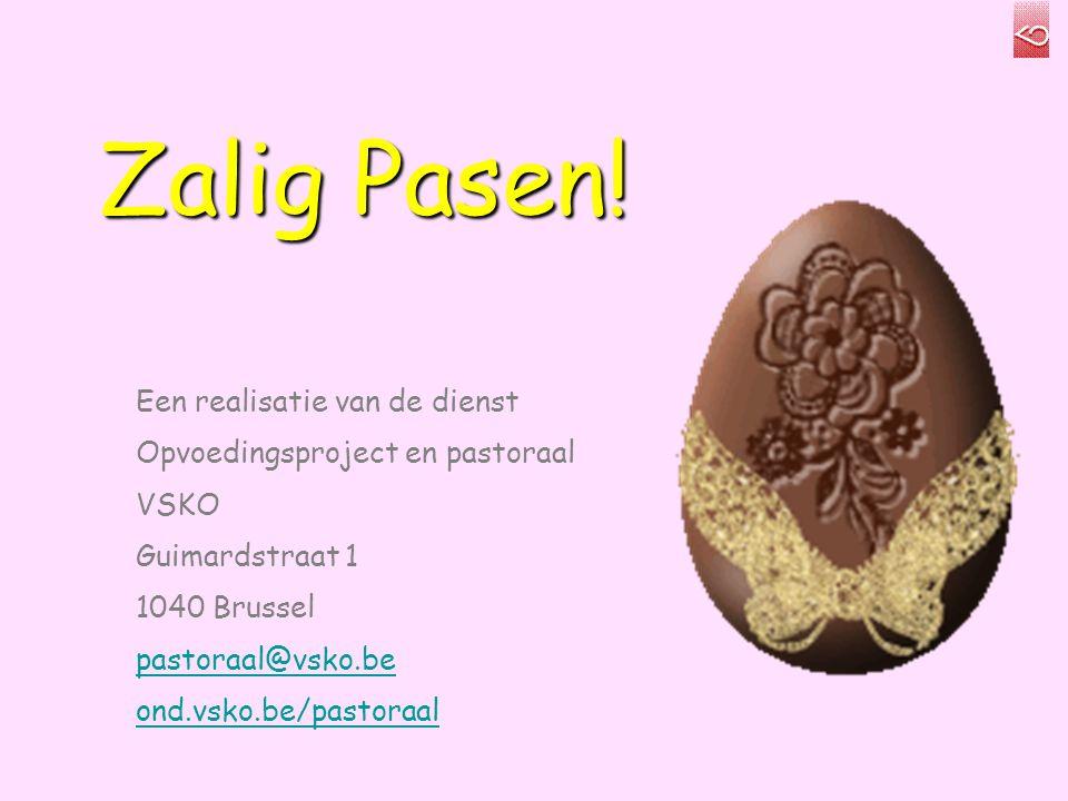 Zalig Pasen! Een realisatie van de dienst Opvoedingsproject en pastoraal VSKO Guimardstraat 1 1040 Brussel pastoraal@vsko.be ond.vsko.be/pastoraal