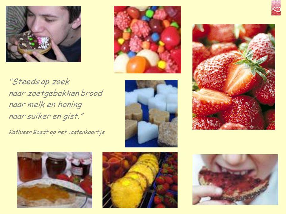 Steeds op zoek naar zoetgebakken brood naar melk en honing naar suiker en gist. Kathleen Boedt op het vastenkaartje