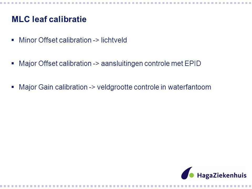 MLC leaf calibratie  Minor Offset calibration -> lichtveld  Major Offset calibration -> aansluitingen controle met EPID  Major Gain calibration -> veldgrootte controle in waterfantoom