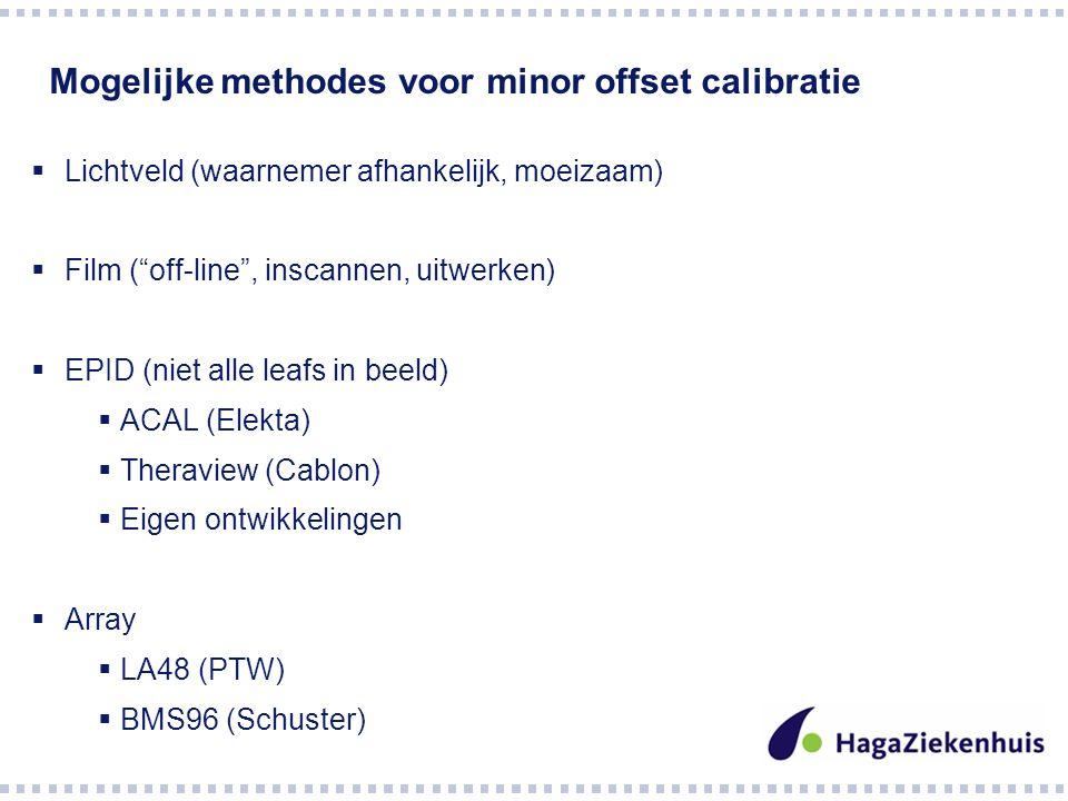 Mogelijke methodes voor minor offset calibratie  Lichtveld (waarnemer afhankelijk, moeizaam)  Film ( off-line , inscannen, uitwerken)  EPID (niet alle leafs in beeld)  ACAL (Elekta)  Theraview (Cablon)  Eigen ontwikkelingen  Array  LA48 (PTW)  BMS96 (Schuster)