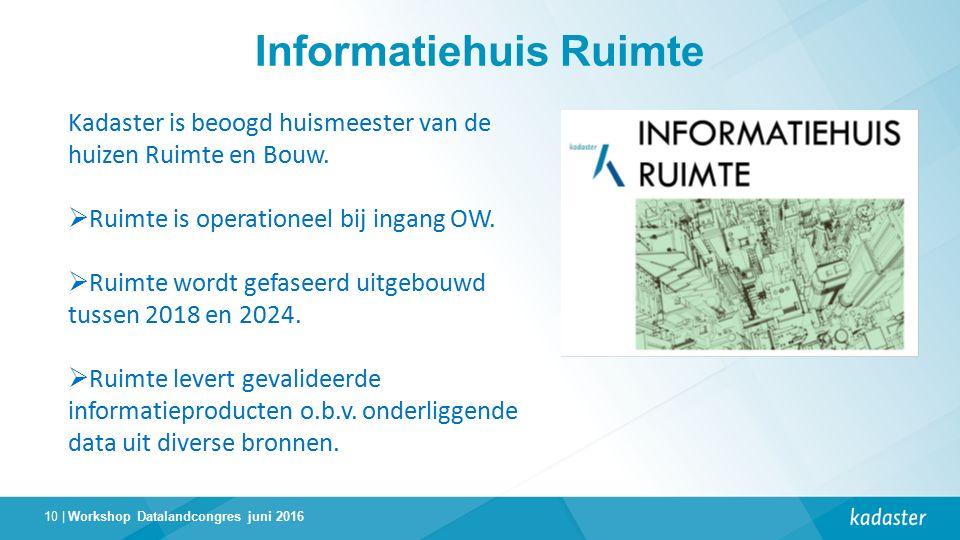 10 | Informatiehuis Ruimte Workshop Datalandcongres juni 2016 Kadaster is beoogd huismeester van de huizen Ruimte en Bouw.