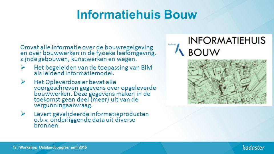 12 | Informatiehuis Bouw Omvat alle informatie over de bouwregelgeving en over bouwwerken in de fysieke leefomgeving, zijnde gebouwen, kunstwerken en wegen.