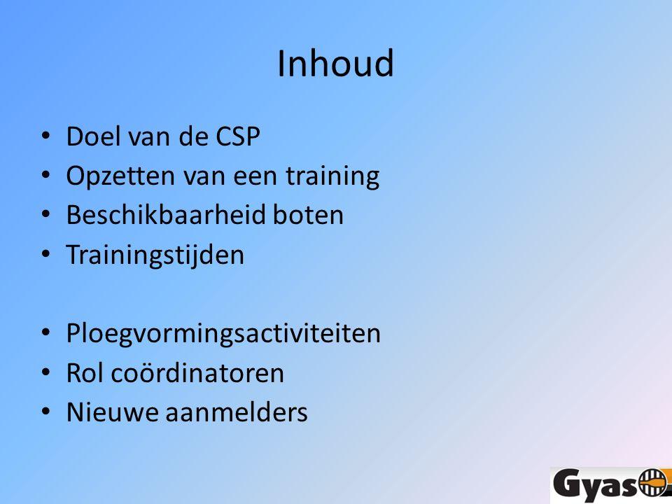 Inhoud Doel van de CSP Opzetten van een training Beschikbaarheid boten Trainingstijden Ploegvormingsactiviteiten Rol coördinatoren Nieuwe aanmelders