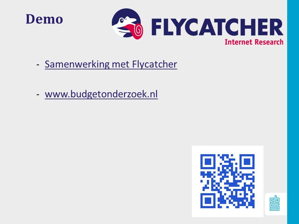 11 Demo ‐ Samenwerking met Flycatcher Samenwerking met Flycatcher ‐ www.budgetonderzoek.nl www.budgetonderzoek.nl