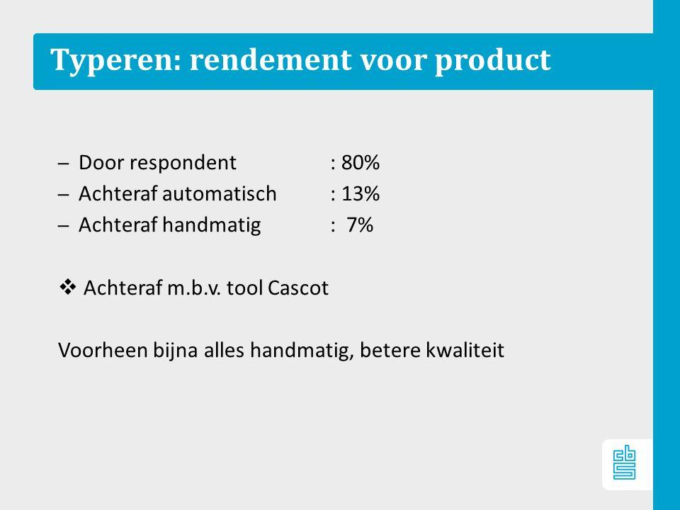 Typeren: rendement voor product – Door respondent: 80% – Achteraf automatisch : 13% – Achteraf handmatig : 7%  Achteraf m.b.v.