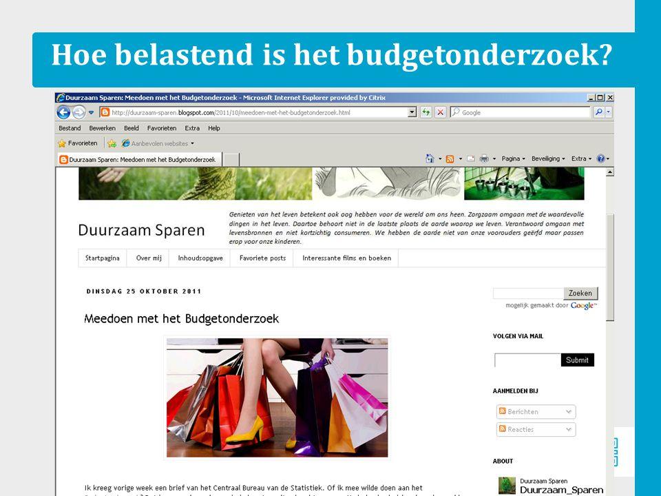 Pilot budgetonderz oek 2011 8 Hoe belastend is het budgetonderzoek