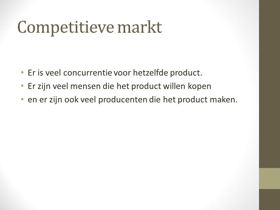 Competitieve markt Er is veel concurrentie voor hetzelfde product.
