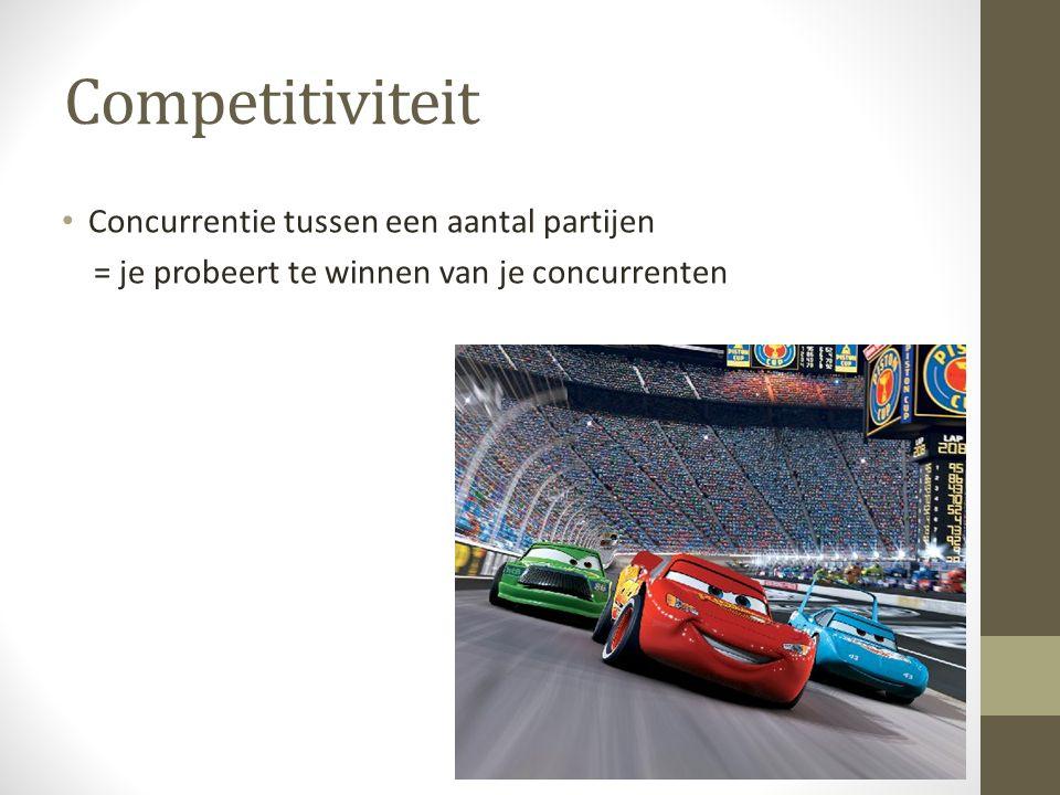 Competitiviteit Concurrentie tussen een aantal partijen = je probeert te winnen van je concurrenten