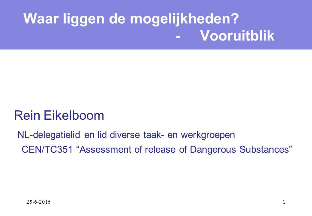 25-6-20161 Rein Eikelboom NL-delegatielid en lid diverse taak- en werkgroepen CEN/TC351 Assessment of release of Dangerous Substances Waar liggen de mogelijkheden.
