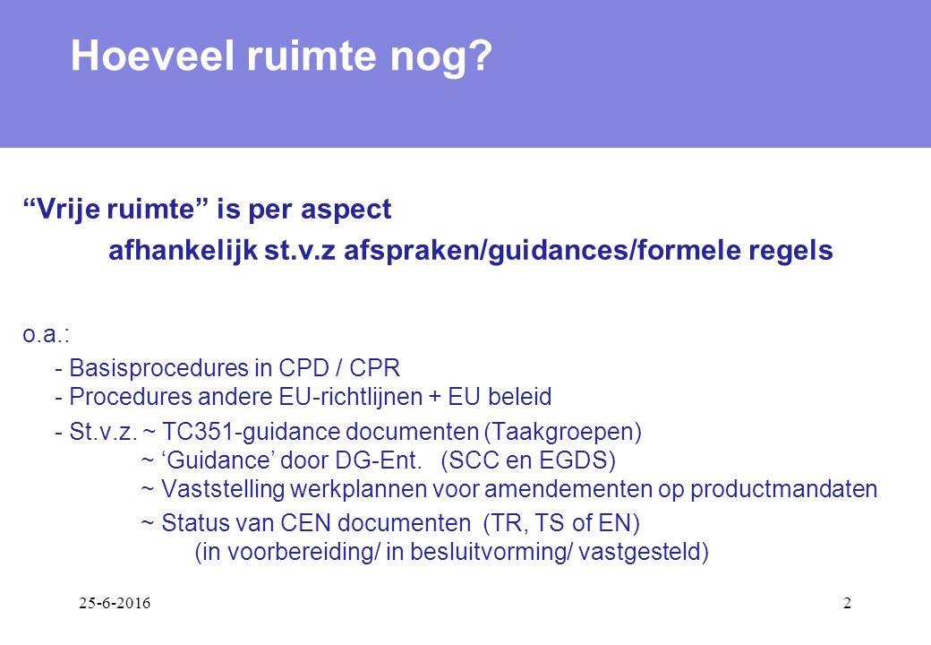 25-6-20162 o.a.: - Basisprocedures in CPD / CPR - Procedures andere EU-richtlijnen + EU beleid - St.v.z.