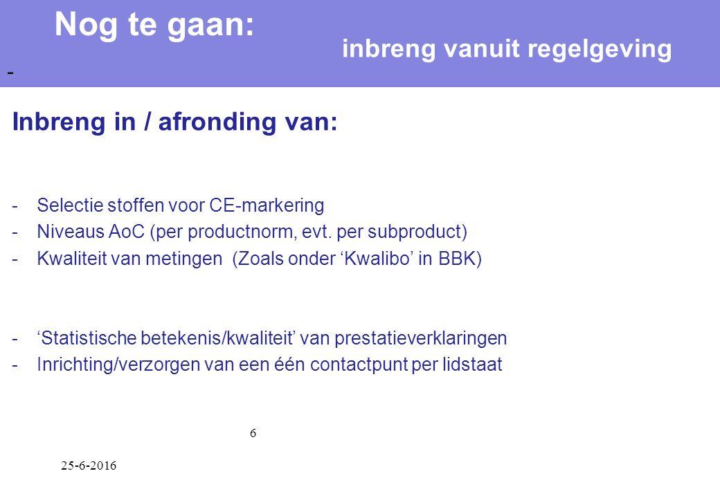 25-6-2016 6 Inbreng in / afronding van: -Selectie stoffen voor CE-markering -Niveaus AoC (per productnorm, evt.