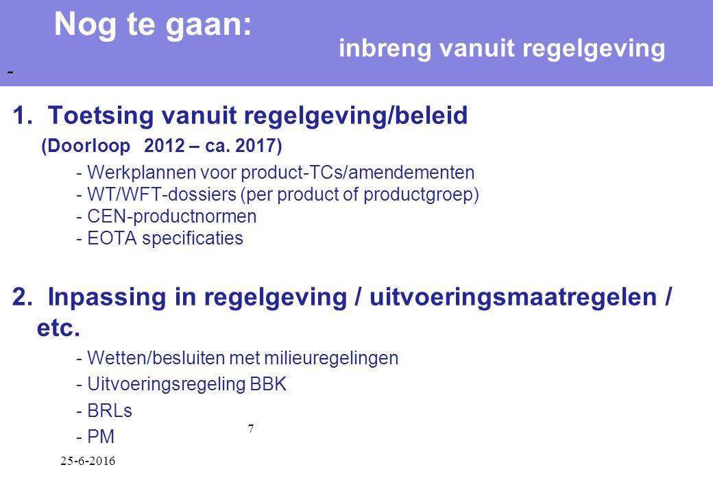 25-6-2016 7 1. Toetsing vanuit regelgeving/beleid (Doorloop 2012 – ca.