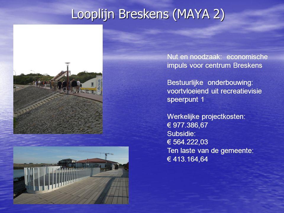 Looplijn Breskens (MAYA 2) Nut en noodzaak: economische impuls voor centrum Breskens Bestuurlijke onderbouwing: voortvloeiend uit recreatievisie speerpunt 1 Werkelijke projectkosten: € 977.386,67 Subsidie: € 564.222,03 Ten laste van de gemeente: € 413.164,64