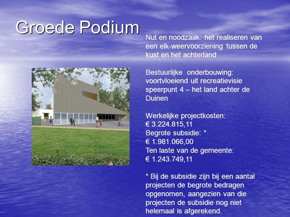 Groede Podium Nut en noodzaak: het realiseren van een elk-weervoorziening tussen de kust en het achterland Bestuurlijke onderbouwing: voortvloeiend uit recreatievisie speerpunt 4 – het land achter de Duinen Werkelijke projectkosten: € 3.224.815,11 Begrote subsidie: * € 1.981.066,00 Ten laste van de gemeente: € 1.243.749,11 * Bij de subsidie zijn bij een aantal projecten de begrote bedragen opgenomen, aangezien van die projecten de subsidie nog niet helemaal is afgerekend.
