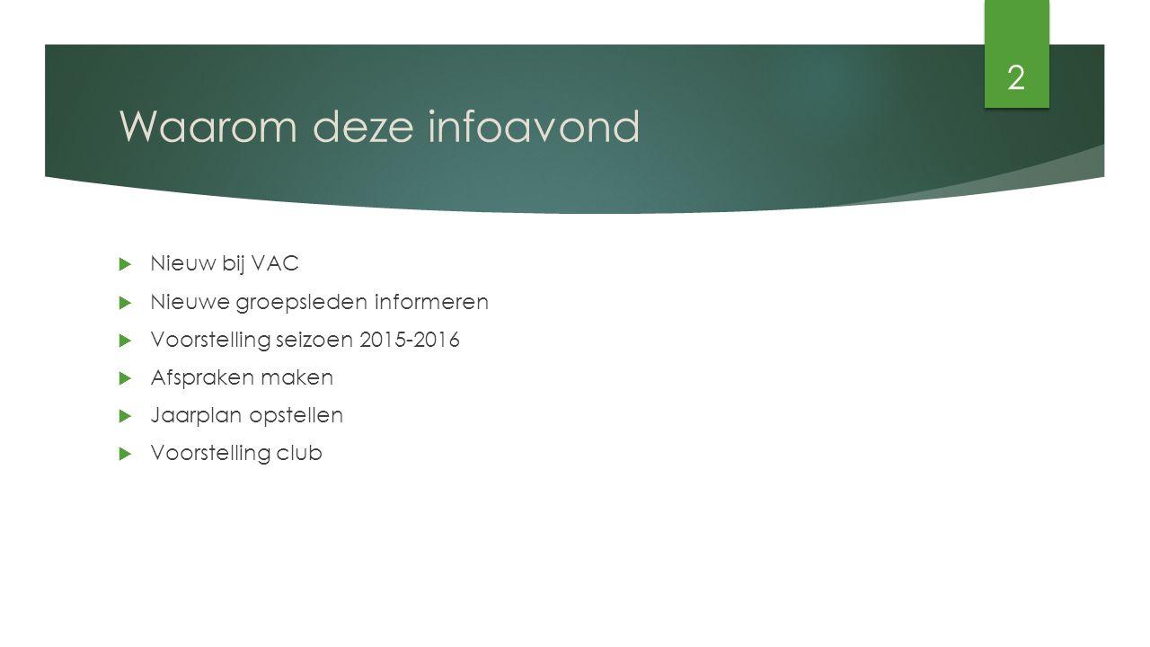 Waarom deze infoavond  Nieuw bij VAC  Nieuwe groepsleden informeren  Voorstelling seizoen 2015-2016  Afspraken maken  Jaarplan opstellen  Voorstelling club 2