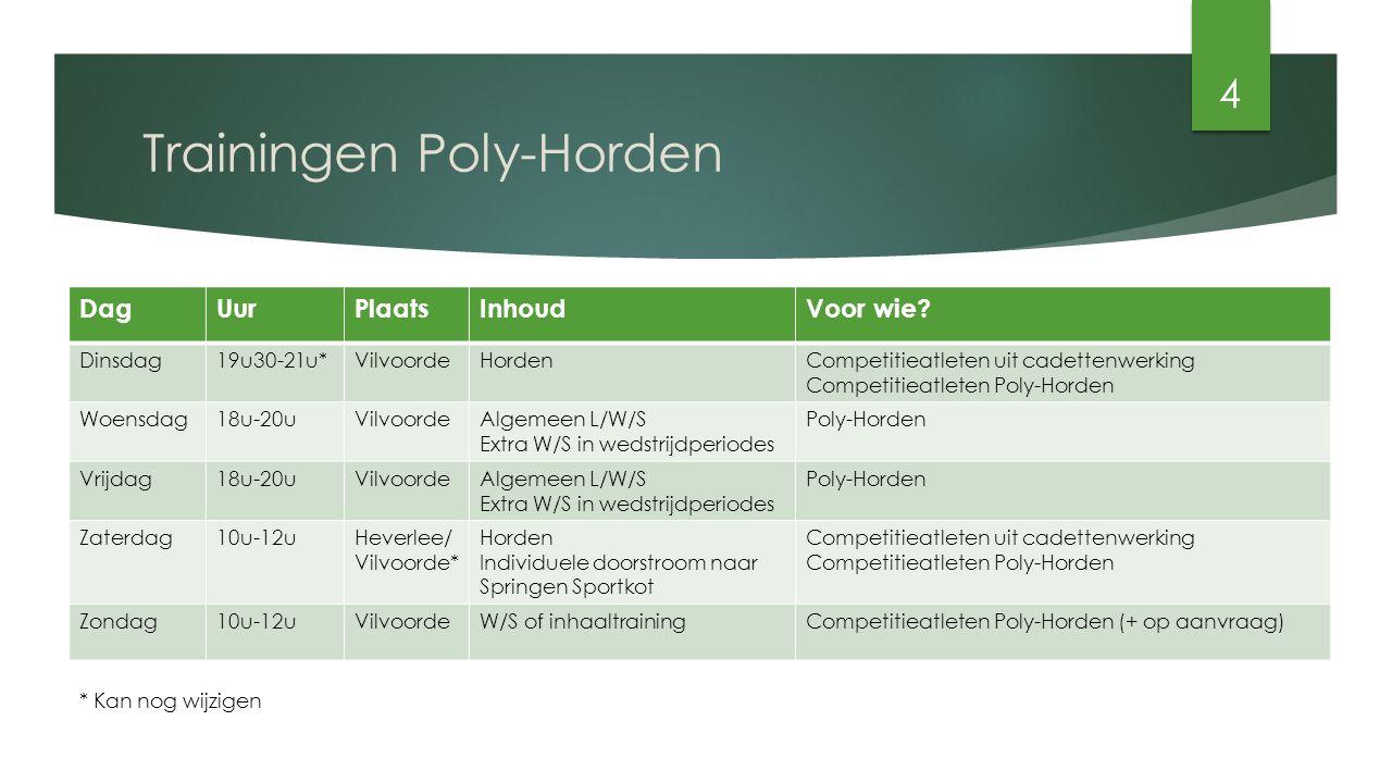 Trainingen Poly-Horden (2)  Samenwerking tussen trainers  Trainingen op zaterdag te Heverlee vanaf 31 oktober - Gezamenlijk vertrek.
