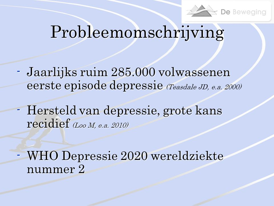 Probleemomschrijving -Jaarlijks ruim 285.000 volwassenen eerste episode depressie -Jaarlijks ruim 285.000 volwassenen eerste episode depressie (Teasdale JD, e.a.