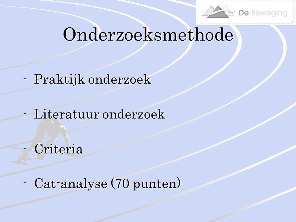 Onderzoeksmethode -Praktijk onderzoek -Literatuur onderzoek -Criteria -Cat-analyse (70 punten)