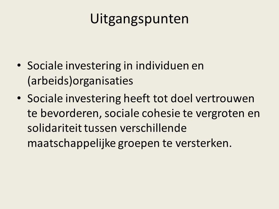Uitgangspunten Sociale investering in individuen en (arbeids)organisaties Sociale investering heeft tot doel vertrouwen te bevorderen, sociale cohesie