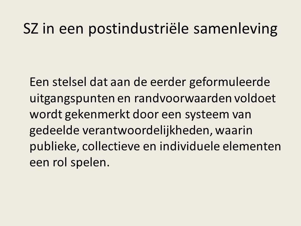 SZ in een postindustriële samenleving Een stelsel dat aan de eerder geformuleerde uitgangspunten en randvoorwaarden voldoet wordt gekenmerkt door een