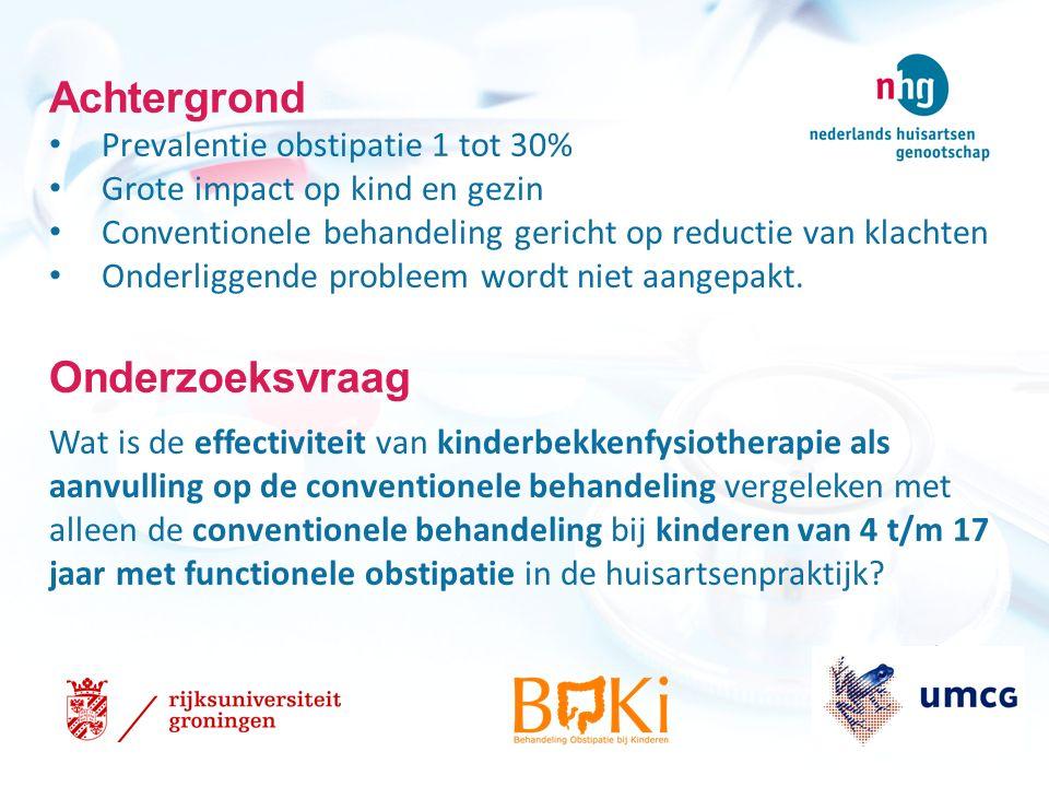 Achtergrond Prevalentie obstipatie 1 tot 30% Grote impact op kind en gezin Conventionele behandeling gericht op reductie van klachten Onderliggende probleem wordt niet aangepakt.
