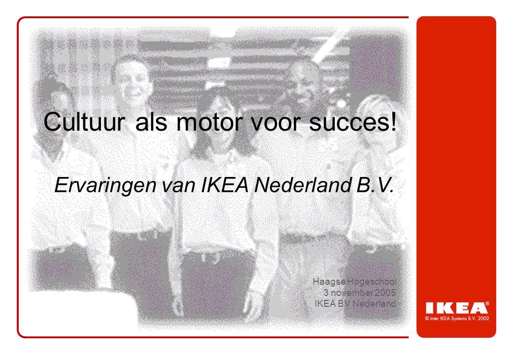 Haagse Hogeschool 3 november 2005 IKEA BV Nederland Ervaringen van IKEA Nederland B.V. Cultuur als motor voor succes!