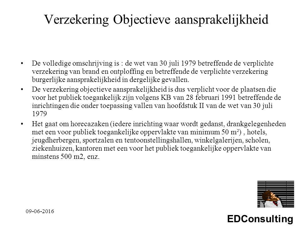 EDConsulting Verzekering Objectieve aansprakelijkheid De volledige omschrijving is : de wet van 30 juli 1979 betreffende de verplichte verzekering van brand en ontploffing en betreffende de verplichte verzekering burgerlijke aansprakelijkheid in dergelijke gevallen.