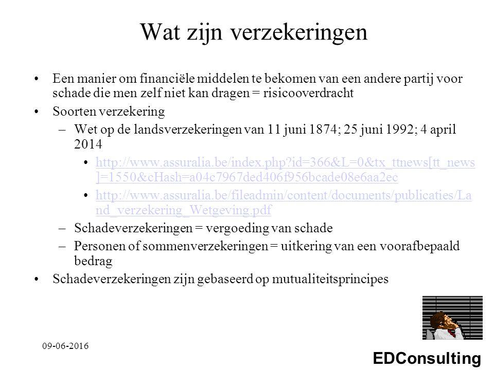 EDConsulting Wat zijn verzekeringen Een manier om financiële middelen te bekomen van een andere partij voor schade die men zelf niet kan dragen = risicooverdracht Soorten verzekering –Wet op de landsverzekeringen van 11 juni 1874; 25 juni 1992; 4 april 2014 http://www.assuralia.be/index.php?id=366&L=0&tx_ttnews[tt_news ]=1550&cHash=a04c7967ded406f956bcade08e6aa2echttp://www.assuralia.be/index.php?id=366&L=0&tx_ttnews[tt_news ]=1550&cHash=a04c7967ded406f956bcade08e6aa2ec http://www.assuralia.be/fileadmin/content/documents/publicaties/La nd_verzekering_Wetgeving.pdfhttp://www.assuralia.be/fileadmin/content/documents/publicaties/La nd_verzekering_Wetgeving.pdf –Schadeverzekeringen = vergoeding van schade –Personen of sommenverzekeringen = uitkering van een voorafbepaald bedrag Schadeverzekeringen zijn gebaseerd op mutualiteitsprincipes 09-06-2016