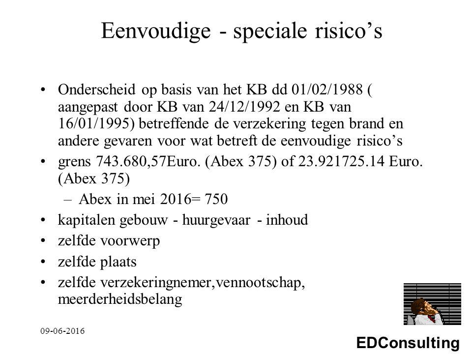 EDConsulting Eenvoudige - speciale risico's Onderscheid op basis van het KB dd 01/02/1988 ( aangepast door KB van 24/12/1992 en KB van 16/01/1995) betreffende de verzekering tegen brand en andere gevaren voor wat betreft de eenvoudige risico's grens 743.680,57Euro.