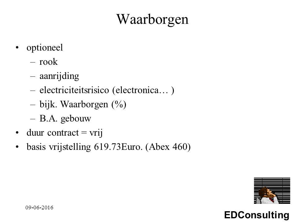 EDConsulting Waarborgen optioneel –rook –aanrijding –electriciteitsrisico (electronica… ) –bijk.