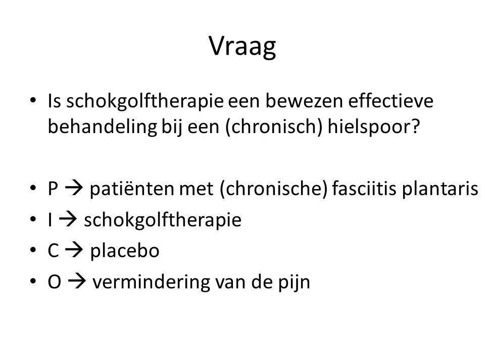 Vraag Is schokgolftherapie een bewezen effectieve behandeling bij een (chronisch) hielspoor? P  patiënten met (chronische) fasciitis plantaris I  sc