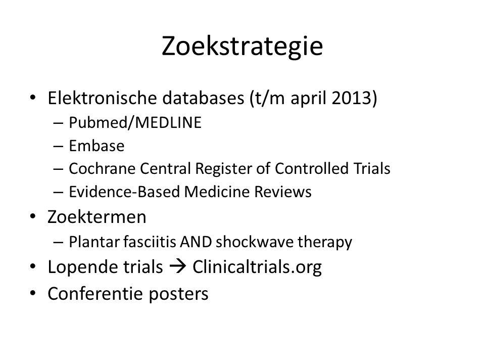 Zoekstrategie Elektronische databases (t/m april 2013) – Pubmed/MEDLINE – Embase – Cochrane Central Register of Controlled Trials – Evidence-Based Med