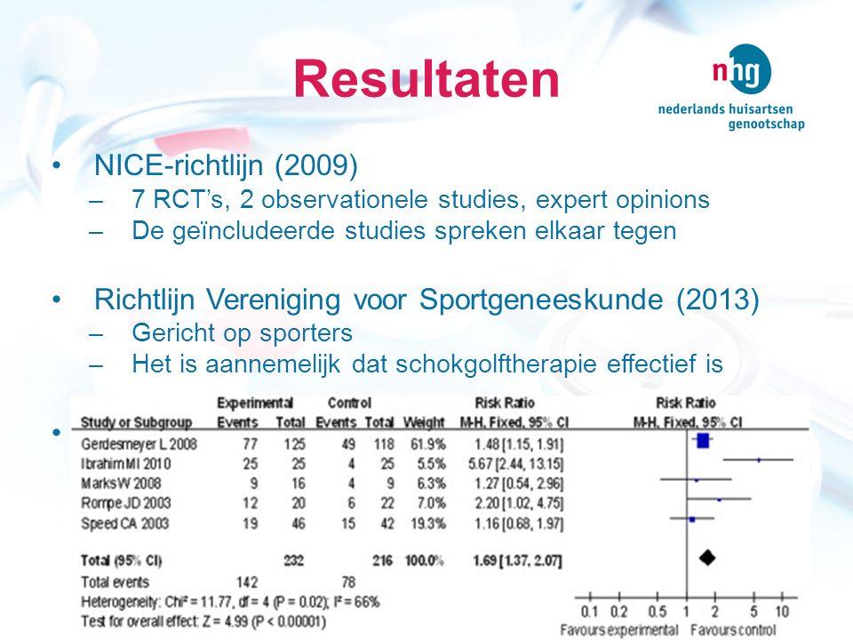 Succesvolle behandeling ESWT (lage intensiteit) versus controlegroep RR = ((78/216) / (142/232)) = 36%/61% = 1,69 RD = 61%-36% = 25%  NNT = 4